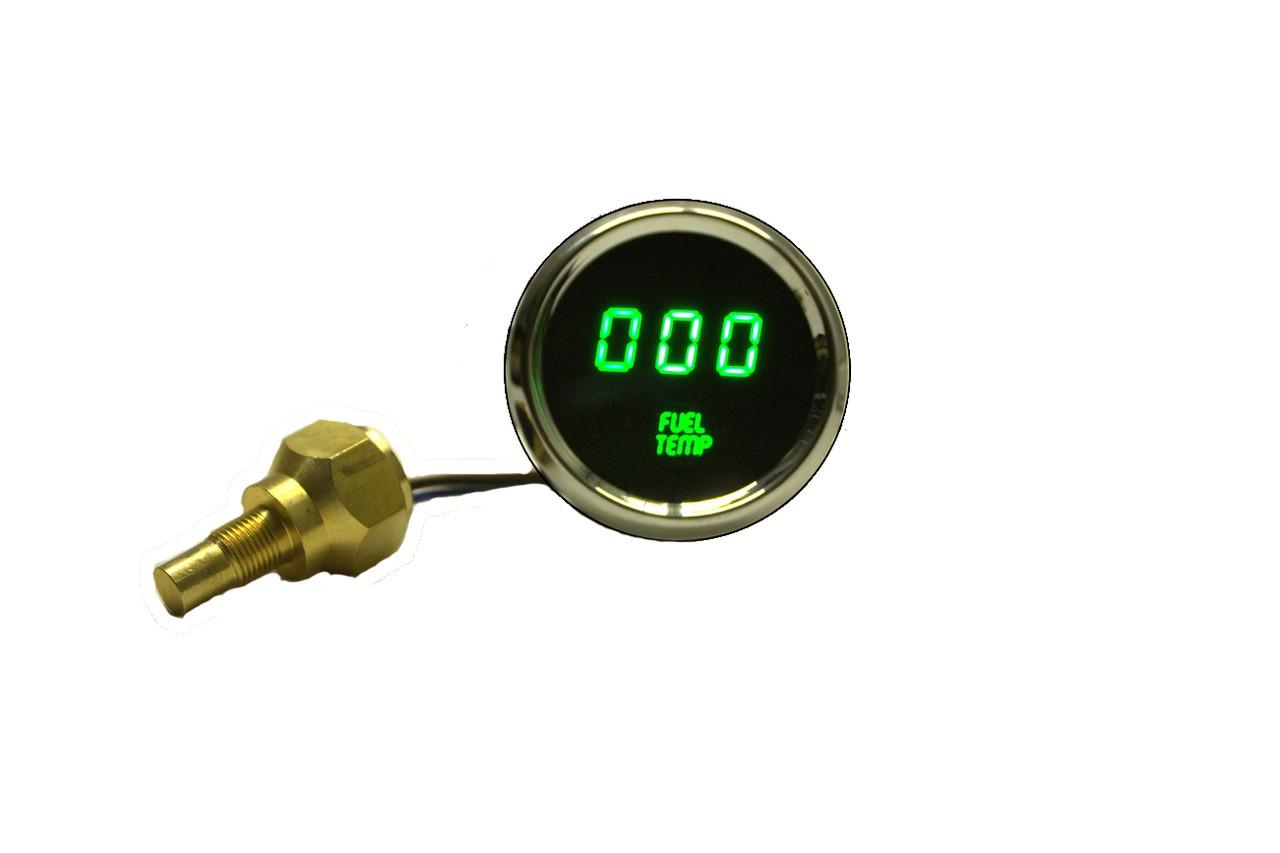 Fuel Temperature LED Digital Chrome Bezel GREEN