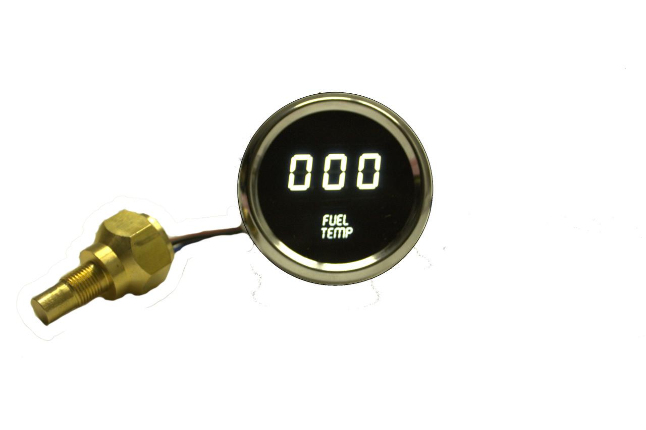 Fuel Temperature LED Digital Chrome Bezel WHITE