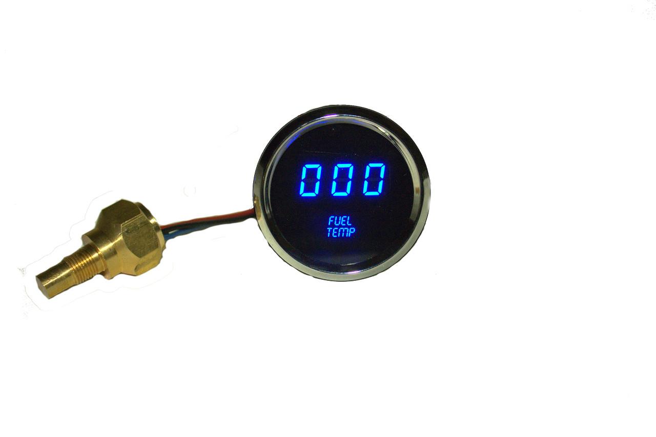 Fuel Temperature LED Digital Chrome Bezel BLUE