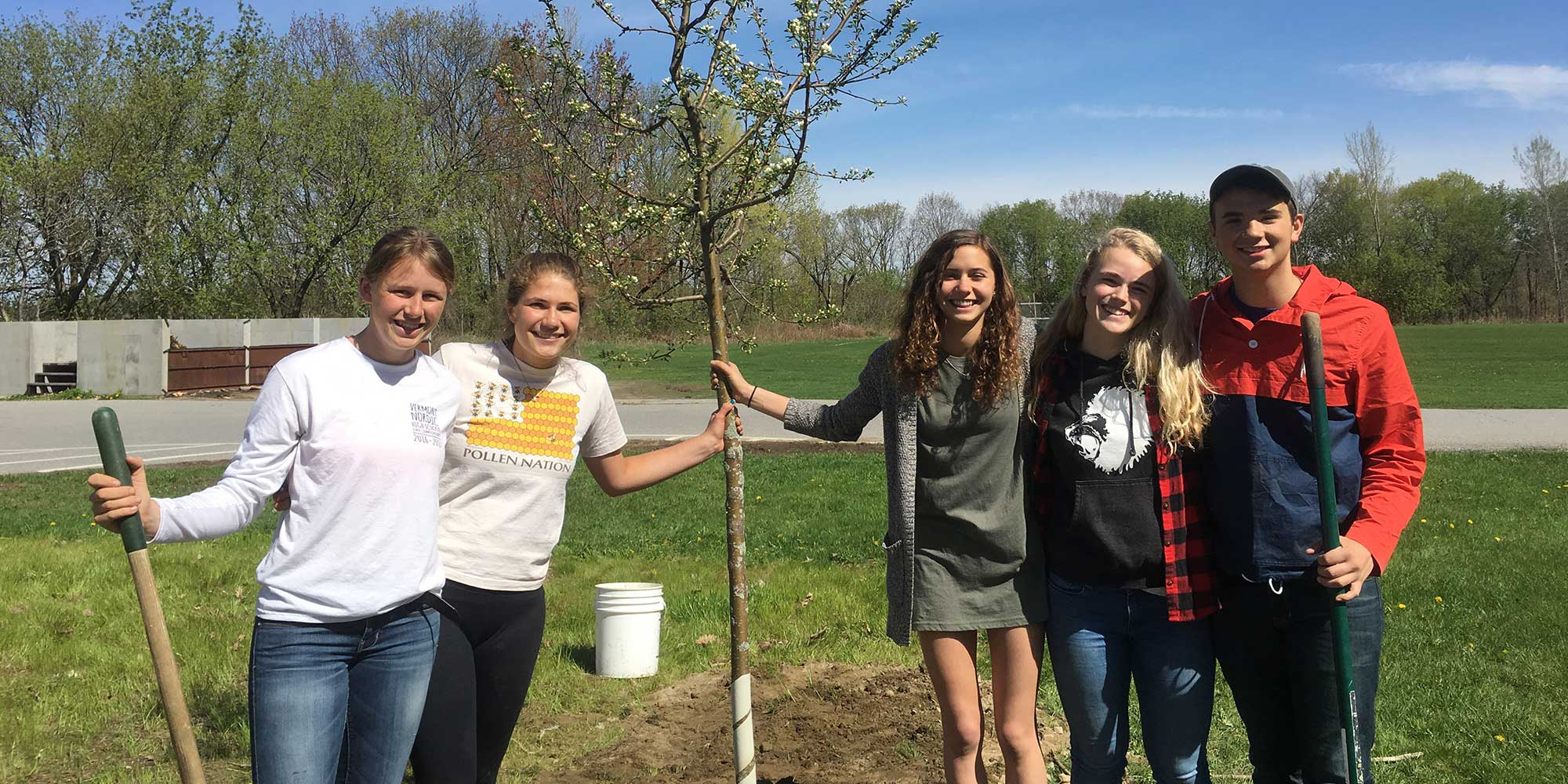 Mt. Abraham High School students with tree