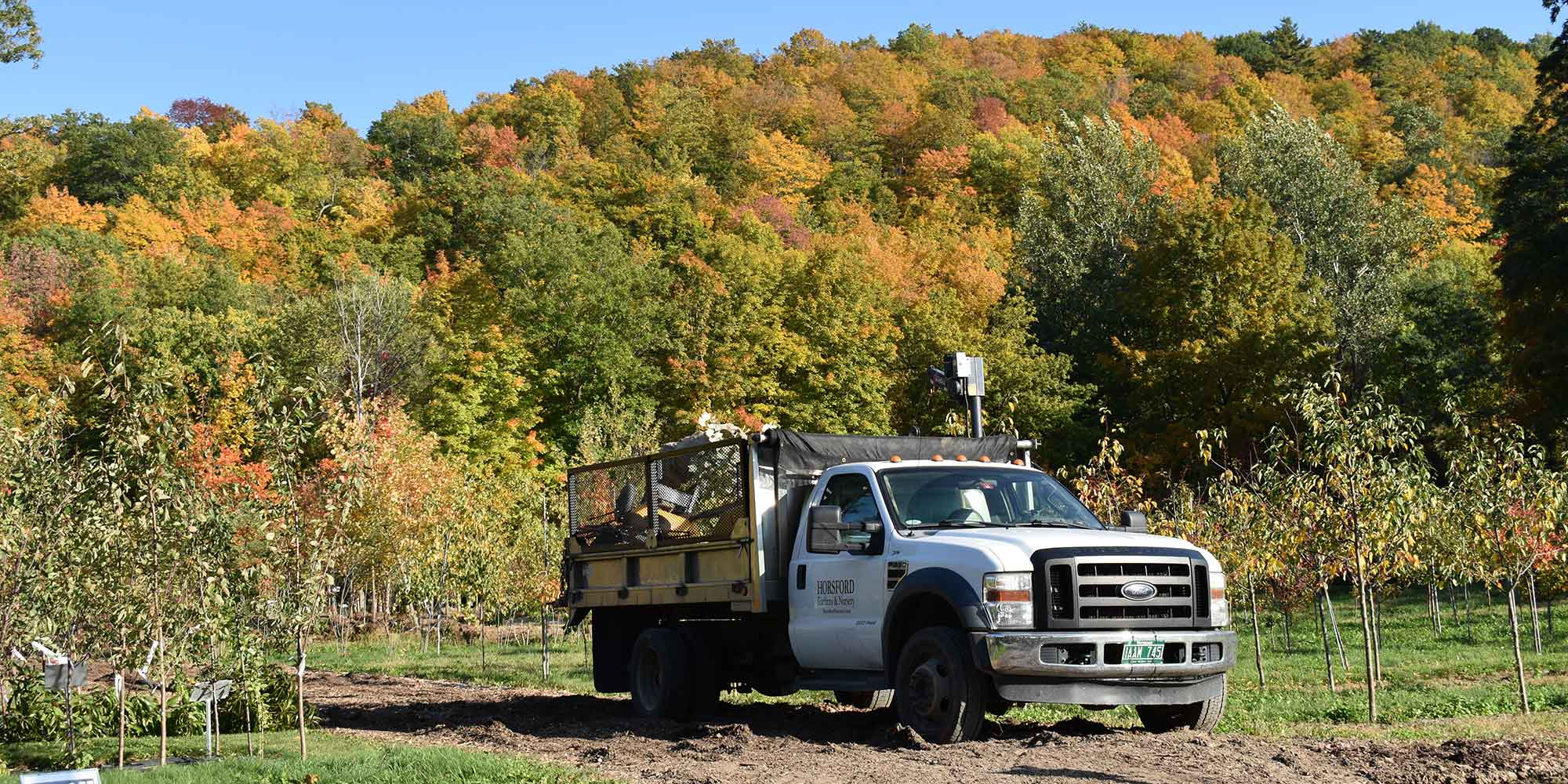 Horsford delivery truck and fall foliage