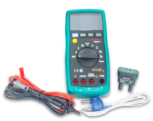 Product image of the Autorange Digital Multimeter with the included components.