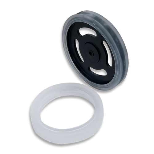 Product image of the Wheel Kit (D-slot Pair): ABS Injection Molded Wheels Comaptible with Digilent Motor Mounts with the included sticky rubber tires.