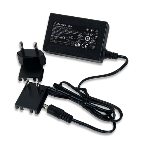 5V 4A Switching Power Supply product image with the included wall plug adapters.
