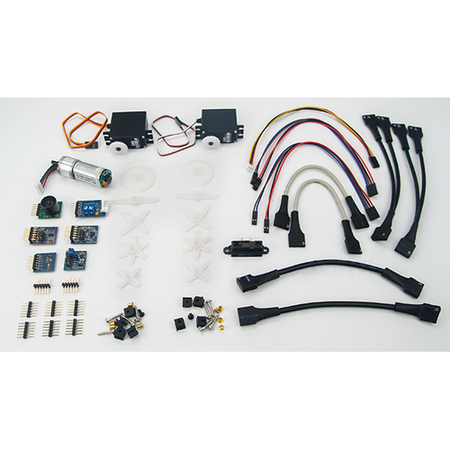 Product image of the myRIO Mechatronics Accessory Kit box contents. Digilent retains the right to change a part or product to a similar item to meet lead time, cost, and MOQ requirements.