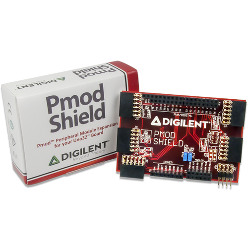 Pmod Shield: Adapter Board for Uno R3 Standard to Pmod product image displaying the custom Digilent cardboard packaging.