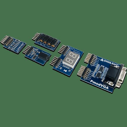 Zybo Z7 Academic Pmod Pack product image. Includes the Pmod VGA, Pmod SWT, Pmod 8LD, Pmod SSD, and Pmod AMP2.