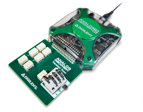 Product image of the Transistor Tester for Analog Discovery in use with the Analog Discovery 2 (Analog Discovery 2 is not included).