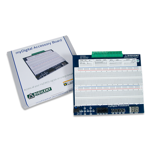 Product image of the myDigital Protoboard for NI myDAQ & myRIO displayed next to its custom protective packaging.