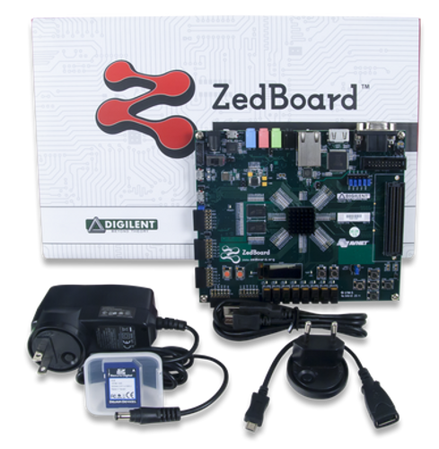 Product image of the ZedBoard Zynq-7000 ARM/FPGA SoC Development Board displayed with the included components and protective packaging.