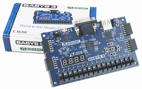Basys 3 Artix-7 FPGA Trainer Board product image displayed next to its custom packaging.