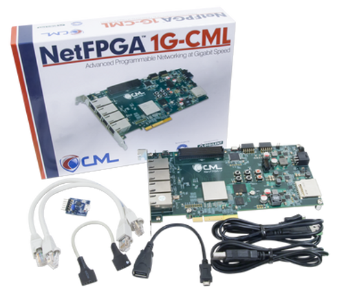 Product image of the NetFPGA-1G-CML Kintex-7 FPGA Development Board displayed next to the included cables and components along with the custom protective packaging.