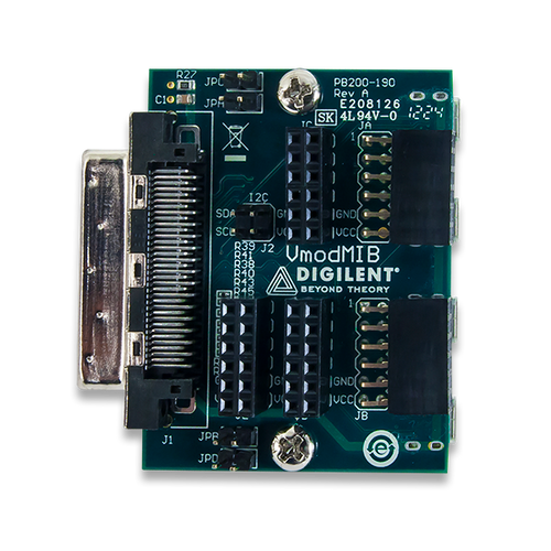 Top view product image of the VmodMIB: VHDC Module Interface Board.