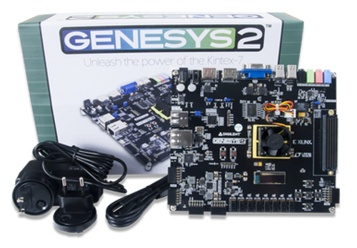Genesys 2 Kintex-7 FPGA Development Board displayed with the power supply and USB cable in front of the packaging.
