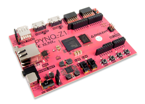Product image of the PYNQ-Z1 Zynq 7000, angled view.
