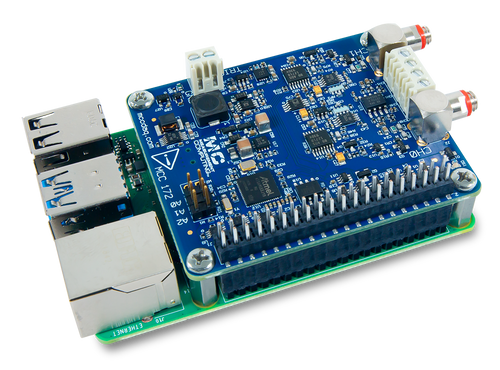 The MCC 172 IEPE Measurement DAQ HAT for Raspberry Pi®, displayed at an angle on top of a Raspberry Pi (Raspberry Pi sold separately).