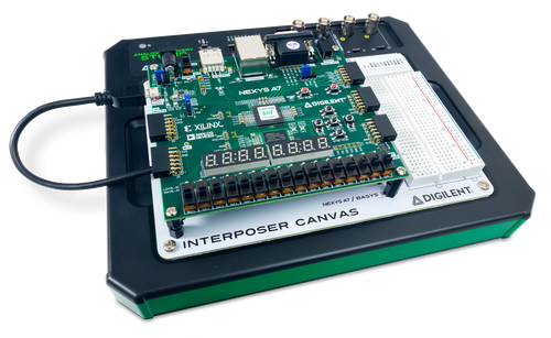 Product image of the Interposer Canvas in use with a Nexys A7 FPGA (sold separately).