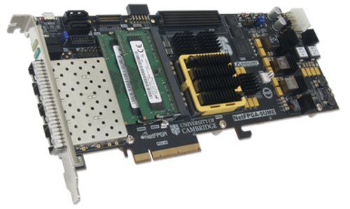 Product image displaying the NetFPGA-SUME Virtex-7 FPGA Development Board at an angle.
