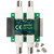 Top view product image of the BNC Adapter for Analog Discovery with the two included standoffs and screws.