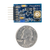 Size comparison product image of the Pmod DA3: One 16-bit D/A Output and a US quarter (diameter of quarter: 0.955 inches [24.26 mm]; width: 0.069 inches [1.75 mm]).