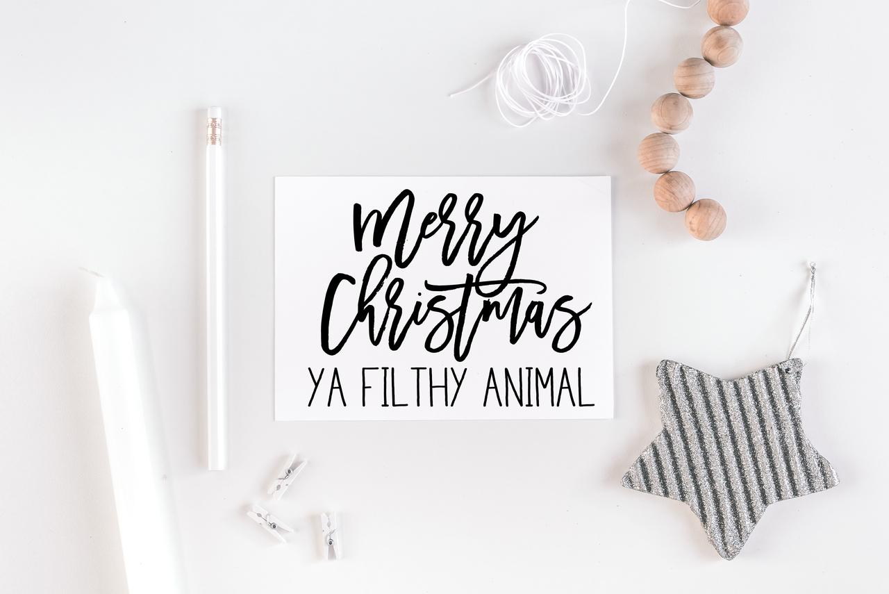 Christmas Notecard.Merry Christmas Ya Filthy Animal Notecard