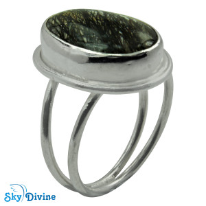 Sterling Silver Black Rutile Ring SDR2104 SkyDivine Jewelry RingSize 8.5 US