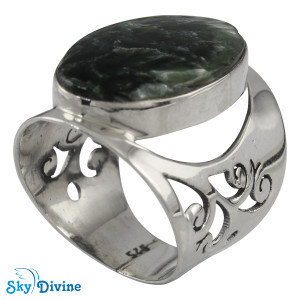 Sterling Silver Serpentine Ring SDR2130 SkyDivine Jewellery RingSize 8 US