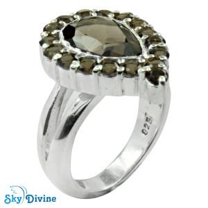 925 Sterling Silver smoky topaz Ring SDR2134 SkyDivine Jewellery RingSize 6 US