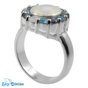 Sterling Silver Rainbow moon Stone Ring SDR2138 SkyDivine Jewellery RingSize 8.5 US
