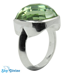 925 Sterling Silver Green Amethyst Ring SDR2159 SkyDivine Jewellery RingSize 7.5 US