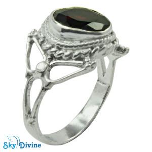 Sterling Silver Garnet Ring SDR2169 SkyDivine Jewellery RingSize 8.5 US