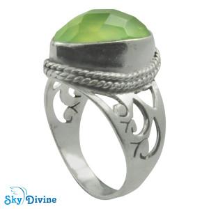 925 Sterling Silver prehnite Ring SDR2170 SkyDivine Jewelry RingSize 8.5 US
