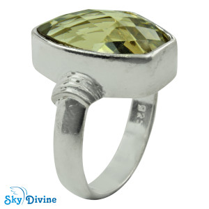 925 Sterling Silver Green Amethyst Ring SDR2179 SkyDivine Jewellery RingSize 7.5 US