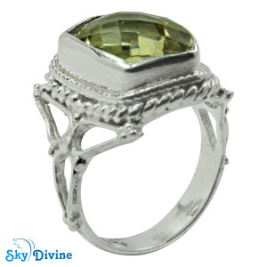 925 Sterling Silver Green Amethyst Ring SDR2184 SkyDivine Jewelry RingSize 7.5 US