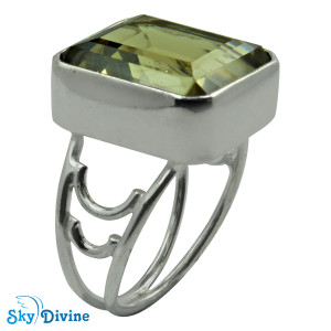 Sterling Silver Green Amethyst Ring SDR2185 SkyDivine Jewellery RingSize 7.5 US