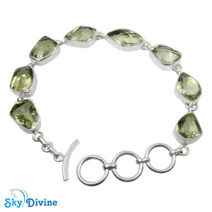 925 Sterling Silver Green Amethyst Bracelet SDBR2113 SkyDivine Jewelry