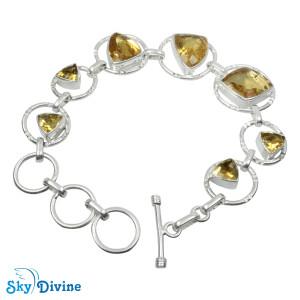 925 Sterling Silver Citrine Bracelet SDBR2116 SkyDivine Jewellery