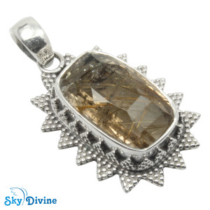 Sterling Silver Golden Rutile Pendant SDAPN09 SkyDivine Jewellery