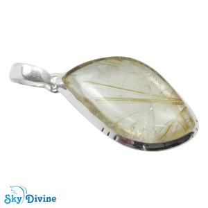 925 Sterling Silver Golden Rutile Pendant SDPN2109 SkyDivine Jewellery