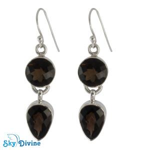 925 Sterling Silver Smoky Topaz Earring SDAER01 SkyDivine Jewellery