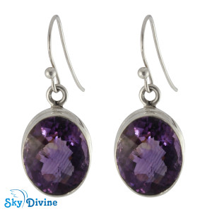 Sterling Silver amethyst Earring SDAER08 SkyDivine Jewellery