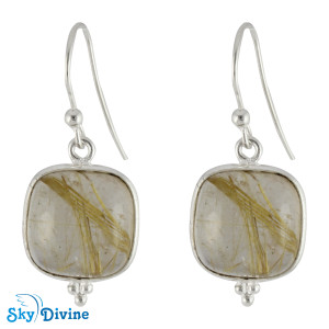 Sterling Silver Golden Rutile Earring SDER2106 SkyDivine Jewellery