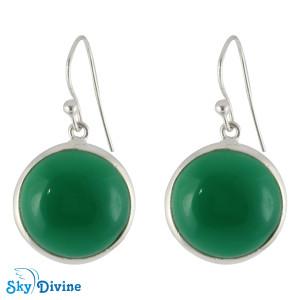 Sterling Silver green onyx Earring SDER2115 SkyDivine Jewellery