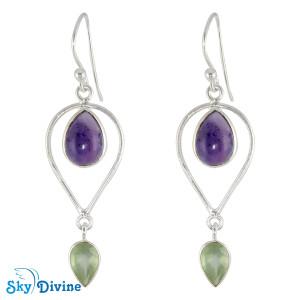 925 Sterling Silver amethyst Earring SDER2130 SkyDivine Jewellery