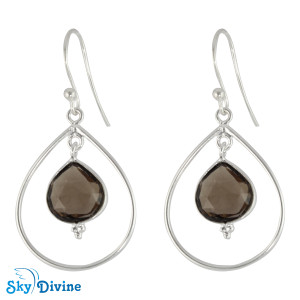 925 Sterling Silver smoky topaz Earring SDER2134 SkyDivine Jewelry