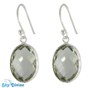 925 Sterling Silver Green Amethyst Earring SDER2151 SkyDivine Jewelry