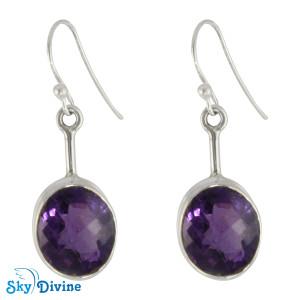 Sterling Silver amethyst Earring SDER2156 SkyDivine Jewellery