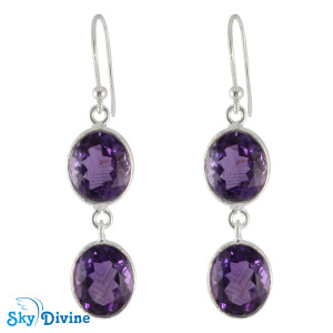 Sterling Silver amethyst Earring SDER2162 SkyDivine Jewelry