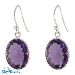 925 Sterling Silver amethyst Earring SDER2163 SkyDivine Jewellery