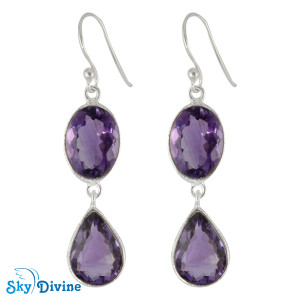 925 Sterling Silver amethyst Earring SDER2165 SkyDivine Jewelry